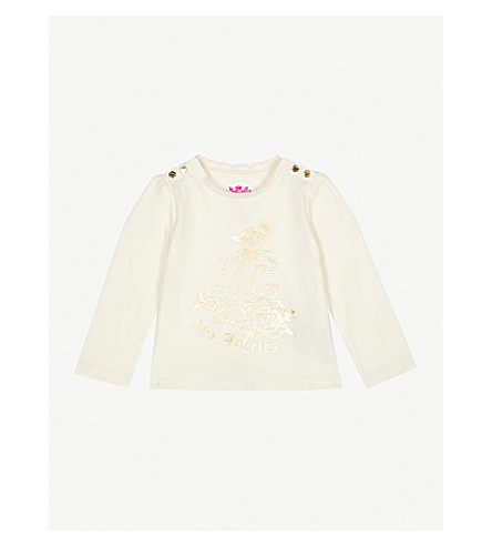JUICY COUTURE Logo and floral-print cotton top (Vanilla