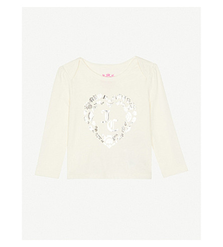 JUICY COUTURE Printed metallic cotton-jersey T-shirt 4-14 years (Vanilla
