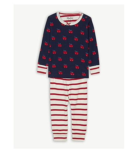 HATLEY Smiling apple print cotton pyjamas 6-24 months (Solstice+blue