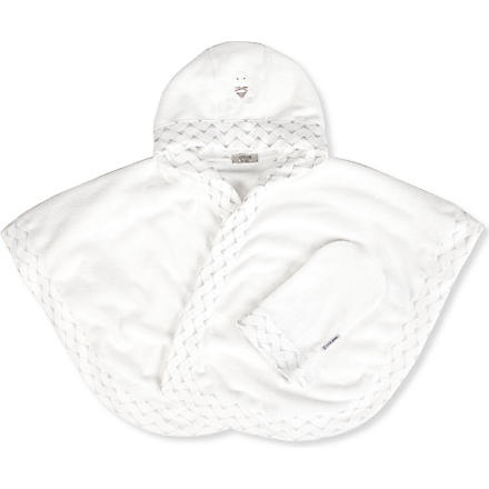 ARMANI JUNIOR Hooded towel and mitt set (White