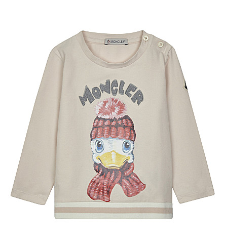 MONCLER Duck print long-sleeved top 6-36 months (Pale+pink