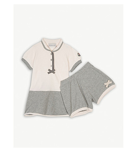 MONCLER Polo dress & shorts set 3-36 months (Grey/pink