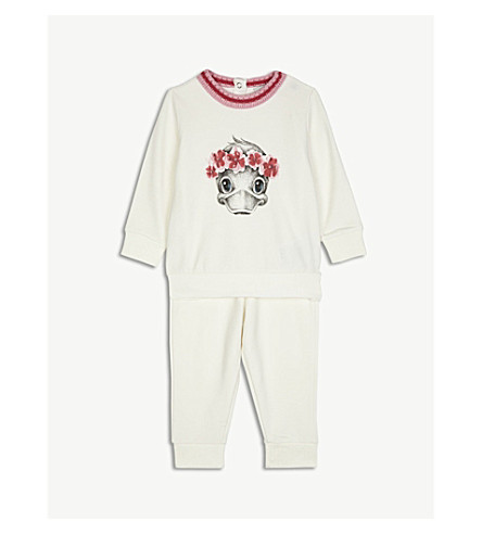 MONCLER Duck cotton-blend tracksuit 3-36 months (White