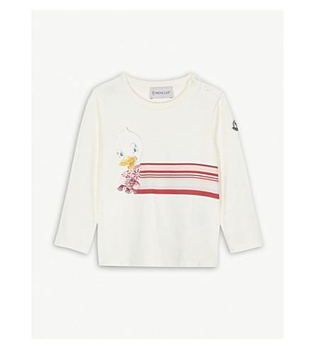 MONCLER Duck graphic cotton T-shirt 6-36 months (White