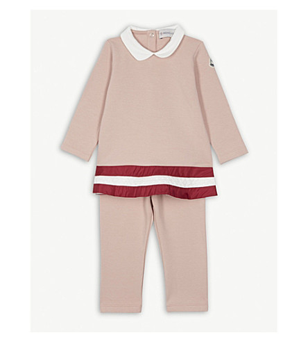 MONCLER Striped cotton dress and leggings set 9-36 months (Pink