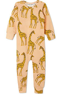 MINI RODINI Mr Giraffe print sleepsuit 3-12 months