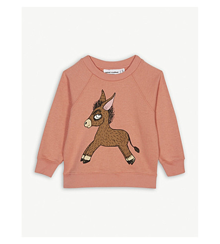 MINI RODINI Donkey-print cotton sweatshirt 1 month-3 years (Pink