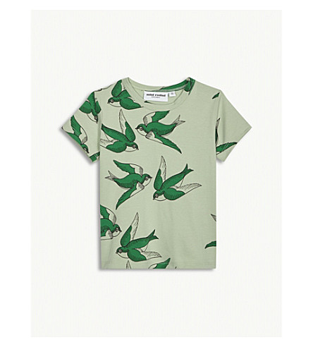 MINI RODINI Swallow print cotton T-shirt 1-36 months (Green