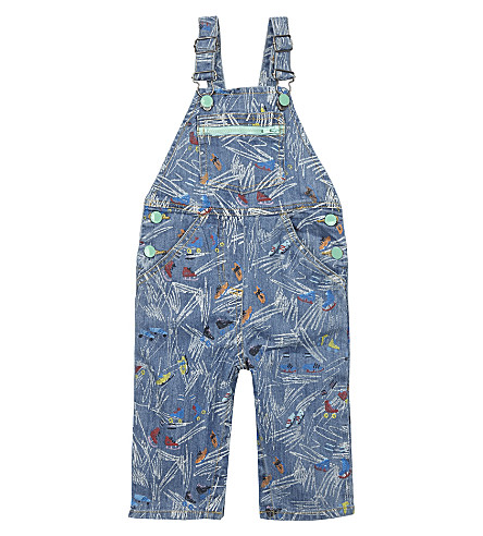 STELLA MCCARTNEY Buzzby denim dungarees 6-36 months (White+scribble