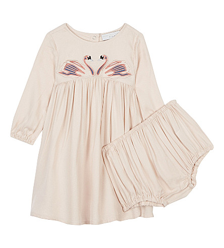 STELLA MCCARTNEY Leonilla swan dress 6-36 months (Pearl+pink
