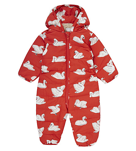 STELLA MCCARTNEY Swan puddle overalls 6-24 months (Swans+aop+on+red