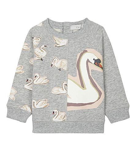 STELLA MCCARTNEY Betty swan-print cotton jumper 6-36 months (Thunder