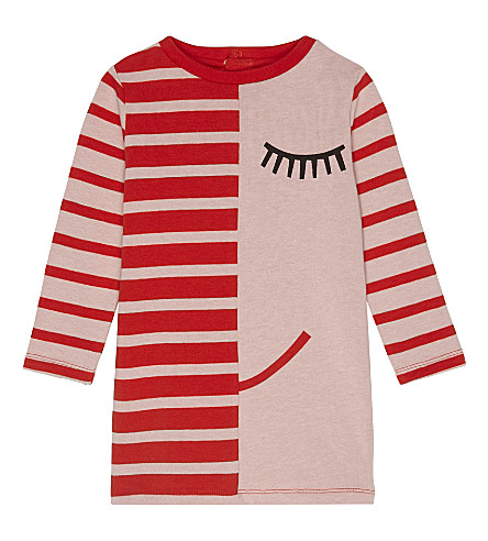 STELLA MCCARTNEY Charlotte striped cotton dress 3-36 months (Dusty+rose