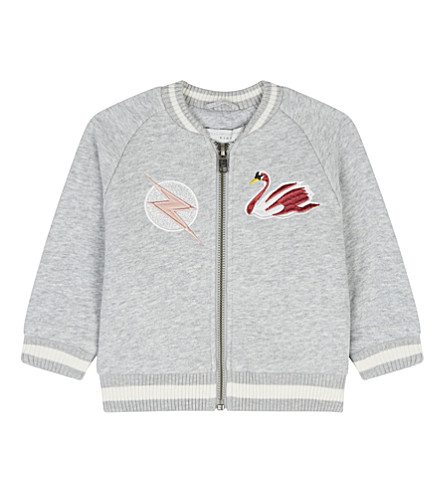 STELLA MCCARTNEY Dusty glitter swan cotton jacket 6-36 months (Thunder