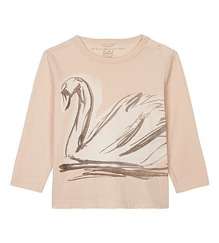 STELLA MCCARTNEY Georgie swan print long-sleeved organic cotton top 6-36 months (Pearl+pink