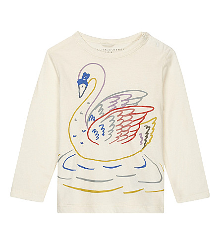STELLA MCCARTNEY Georgie swan print cotton long-sleeved top 6-36 months (Cloud