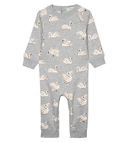 STELLA MCCARTNEY Jimbo cotton baby-grow 3-18 months (Swans+aop+on+grey