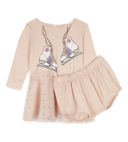 STELLA MCCARTNEY Primrose ice-skate cotton dress 6-36 months (Pearl+pink