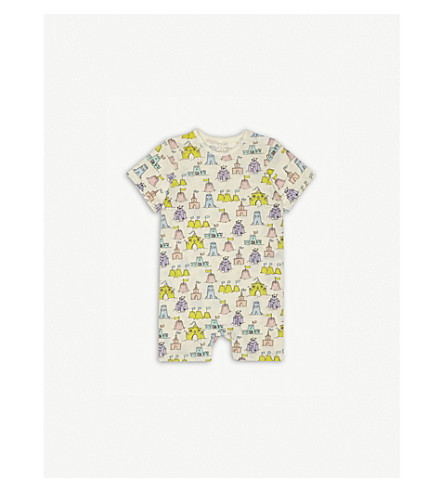 STELLA MCCARTNEY Kit sand castle cotton baby-grow 3-18 months (Sand+castle