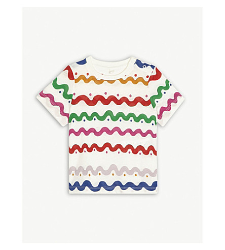 STELLA MCCARTNEY Chuckle squiggle-print cotton T-shirt 3-36 months (Wiggle+tile