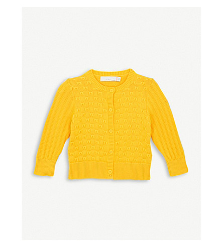 STELLA MCCARTNEY Emerie bow-patterned knitted cotton cardigan 6-36 months (Sunshine