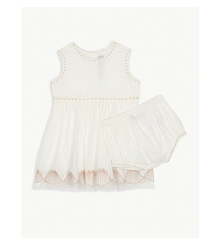 STELLA MCCARTNEY Gabby shells cotton dress and knickers 6-36 months (Cloud