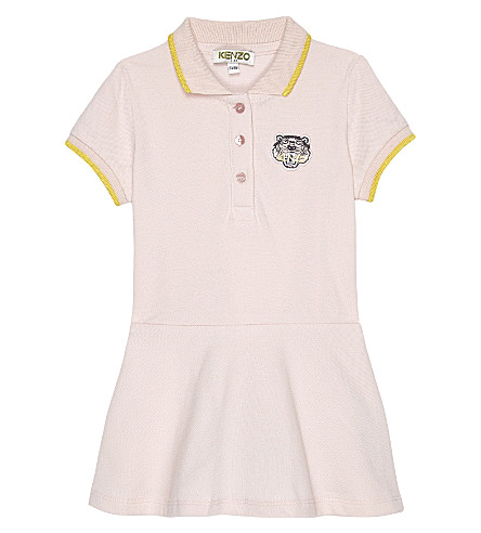 KENZO Logo cotton polo dress 6-36 months (Pink