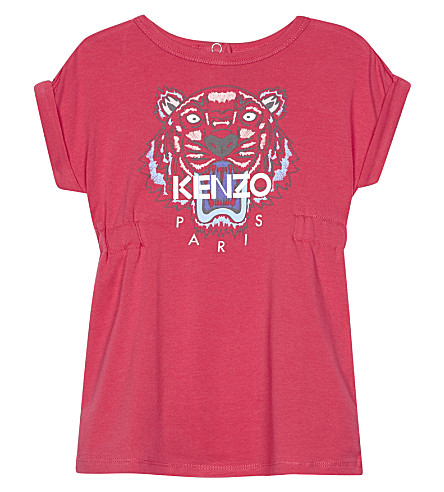 KENZO Tiger icon cotton dress 6-36 months (Fuchsia
