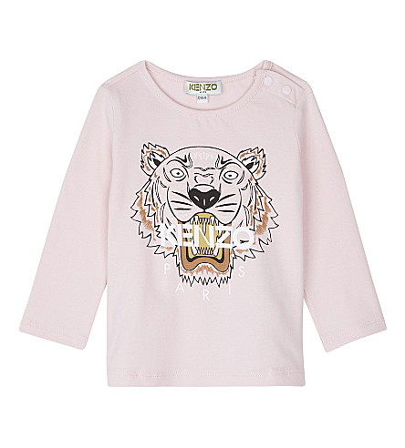 KENZO Tiger logo cotton t-shirt (Pale+pink