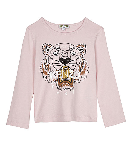 KENZO Tiger stretch-cotton T-shirt 2-3 years (Pale+pink