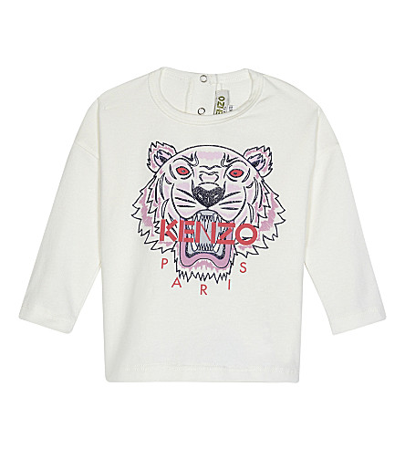 KENZO Tiger icon cotton T-shirt 3-36 months (Ivory