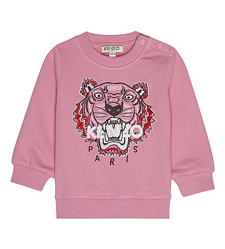 KENZO Tiger icon cotton sweatshirt 3-36 months (Hot+pink