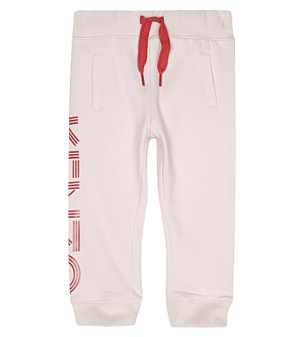 KENZO Logo cotton tracksuit bottoms (Pale+pink