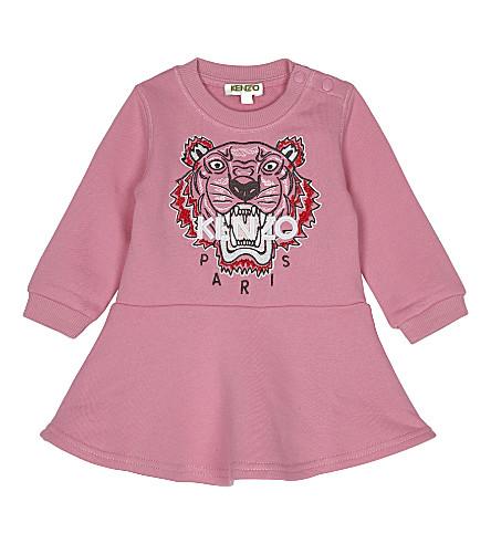 KENZO Tiger print cotton dress 6-18 months (Hot+pink
