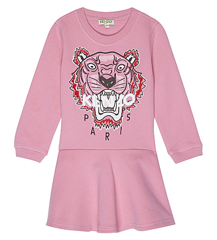 KENZO Embroidered tiger dress 2-3 years (Hot+pink