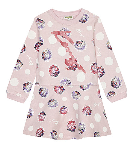 KENZO Floral print cotton dress 6-36 months (Pale+pink