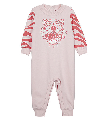 KENZO Tiger cotton baby-grow 3-18 months (Pale+pink