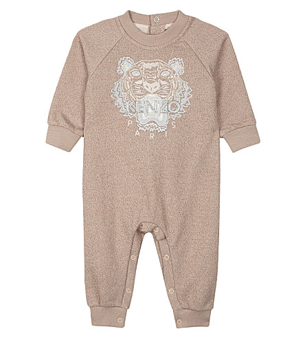 KENZO Metallic finish embroidered tiger print cotton baby-grow 1-18 months (Powdery+pink