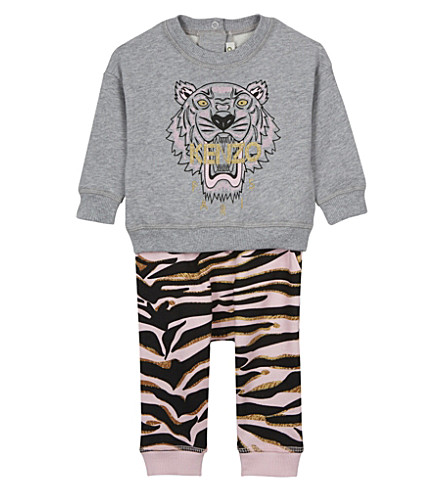 KENZO Tiger print sweatshirt and tracksuit bottoms 3-36 months (Pink