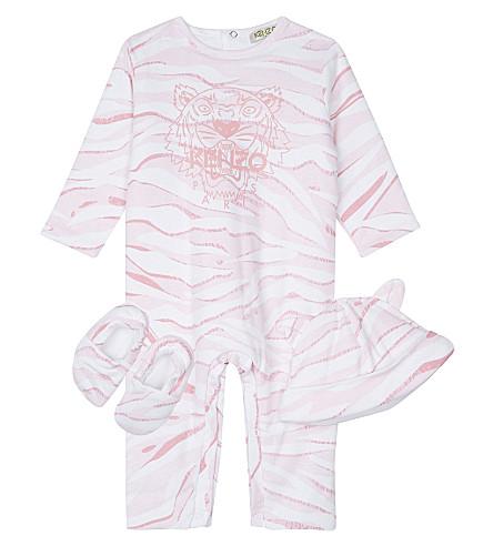 KENZO Tiger stripe three piece baby set 1-12 months (Pink