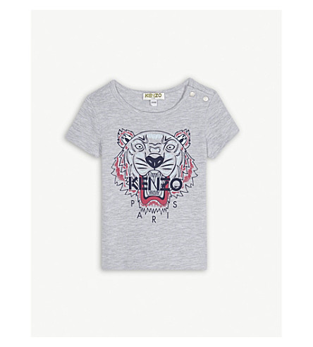 KENZO Tiger motif cotton-blend T-shirt 6-36 months (Marled+grey