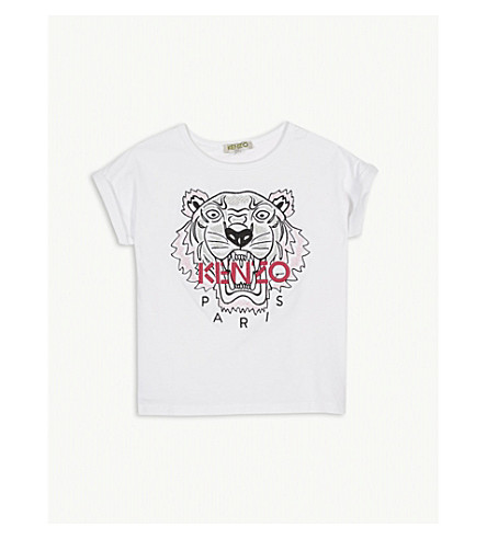 KENZO Embroidered tiger cotton T-shirt 2-3 years (White