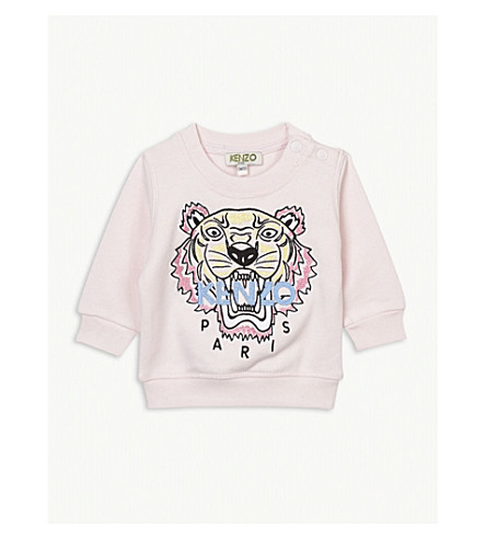 KENZO Embroidered tiger cotton sweatshirt 6-36 months (Baby+pink