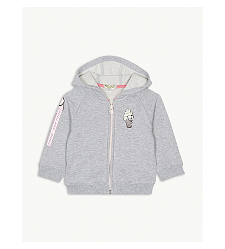 KENZO Ice cream print cotton hoody 3-36 months (Marled+grey