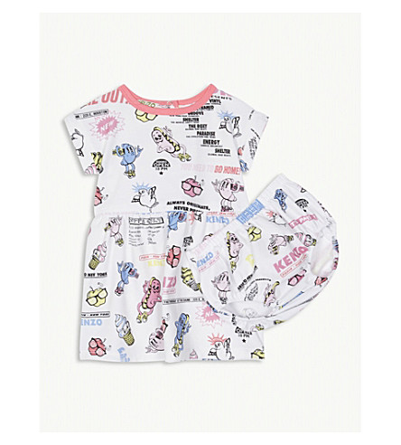 KENZO Food Fiesta print dress and bloomers set 6-36 months (White