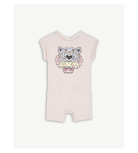 KENZO Tiger print cotton-blend playsuit 3-36 months (Baby+pink