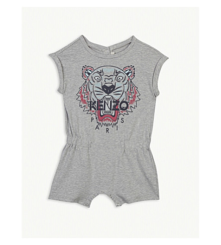 KENZO Tiger print cotton romper 3-24 months (Marled+grey