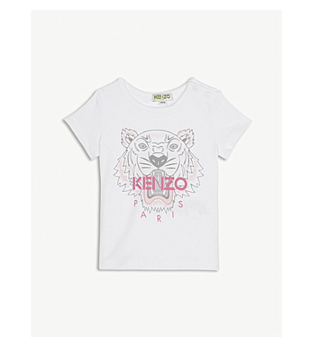 KENZO 虎图案棉混纺 T 恤 6-18 月 (光学 + 白色