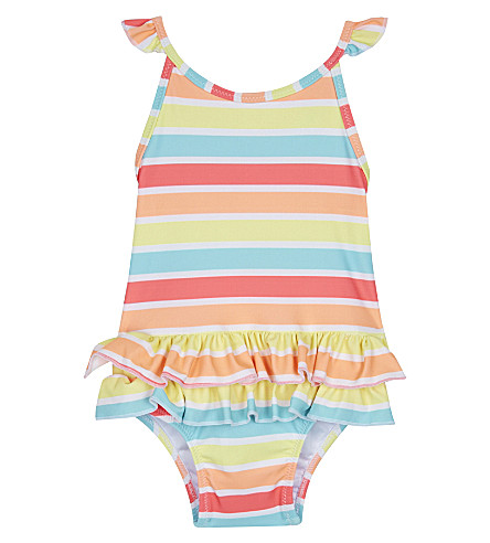 SUNUVA Sorbet stripe frilled swimming costume 3-24 months (Sorbet+stripe