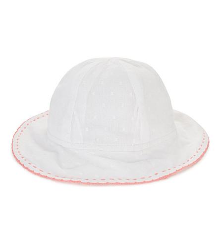 SUNUVA Neon trim cotton sun hat (White